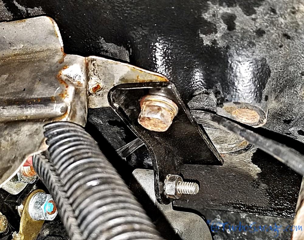 Starter bracket installed close-up